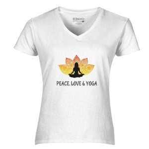 Women V-Neck Peace Love T-Shirt