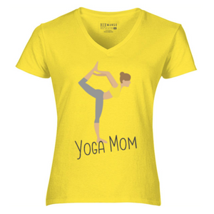 Women V-Neck Yoga Mom T-Shirt