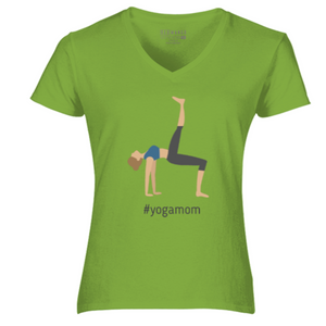 Women V-Neck #YogaMom T-Shirt