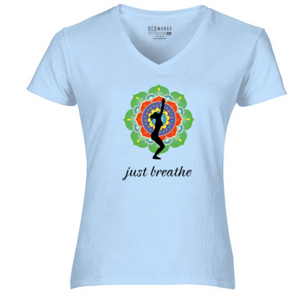 Women V-Neck just breathe T-Shirt
