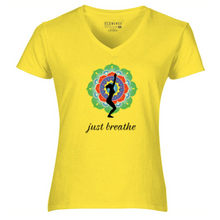 Load image into Gallery viewer, Women V-Neck just breathe T-Shirt