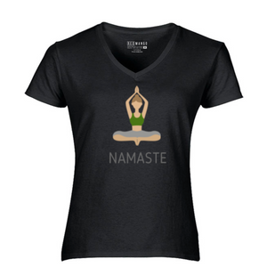 Women V-Neck Namaste T-Shirt