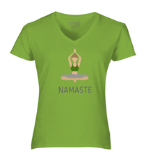 Load image into Gallery viewer, Women V-Neck Namaste T-Shirt