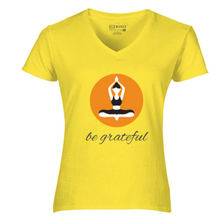 Load image into Gallery viewer, Women V-Neck Grateful T-Shirt