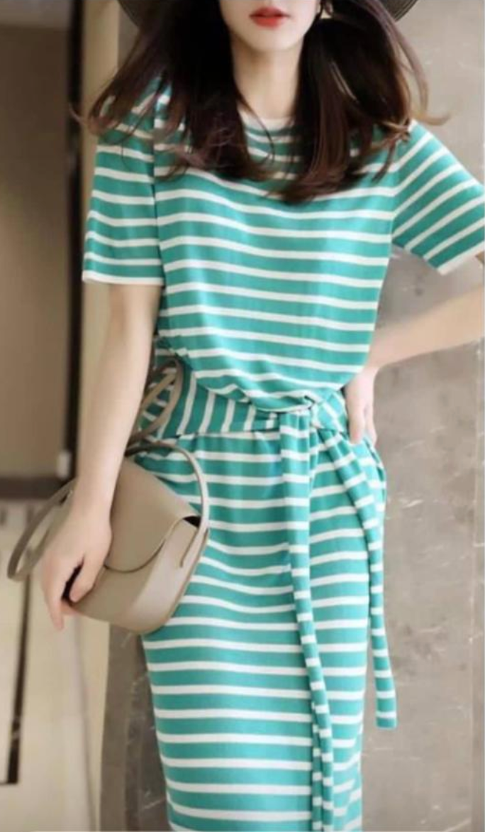 All Size Stripe Casual Dress