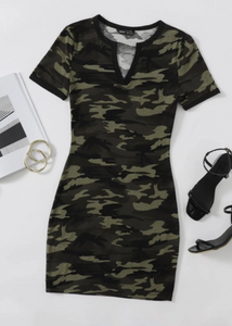 camo short sleeve casual dress