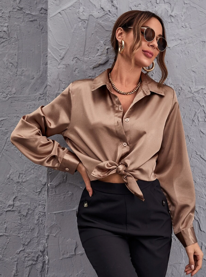 Button Front SAtin Top