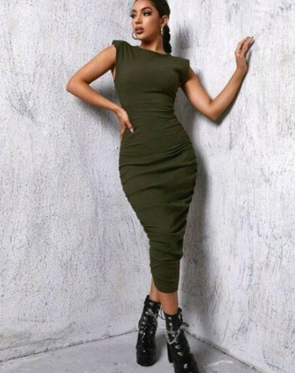 Shoulder Pad Bodycon Dress
