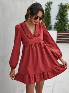 Lantern Sleeve Smock Dress