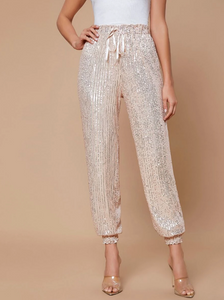 Knot Front Sequins Tapered Pants