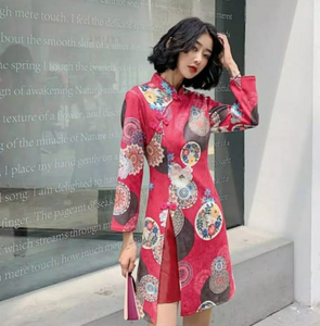 Long Sleeve Red Flower Qi Bao