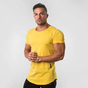 GT74  Pure color Gyms Tight Cotton T-shirt