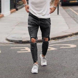 MD34 Distressed Freyed Slim Fit Jeans