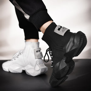 MS559 Black White Chunky High Top Shoes