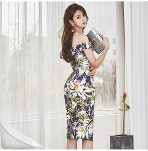 One Shoulder Sexy Women Dress Floral Print