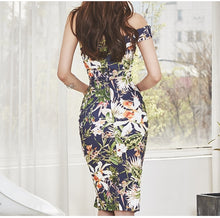 Load image into Gallery viewer, One Shoulder Sexy Women Dress Floral Print
