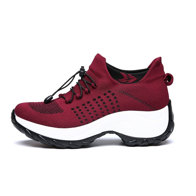 SS45 Women Flat Platform Running Sock Shoes
