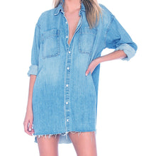 Load image into Gallery viewer, Casual Ripped Denim Shirt Dress