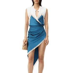 Sexy Hit Color V-Neck Dress