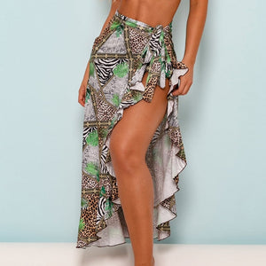 Long Leaves Print Bikini Cover up Robe