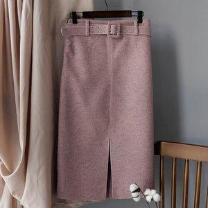 High Waist Knee-length Skirt With Belt