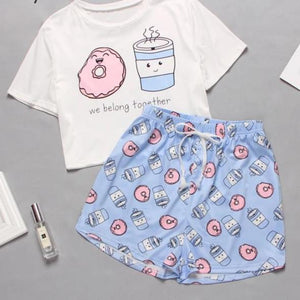 Cute Cartoon Print Short Set Pajamas