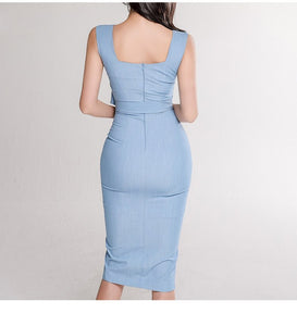 Summer Slim Single Breasted Bodycon Dress