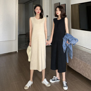 Solid Color Slim Knitted Summer Dress