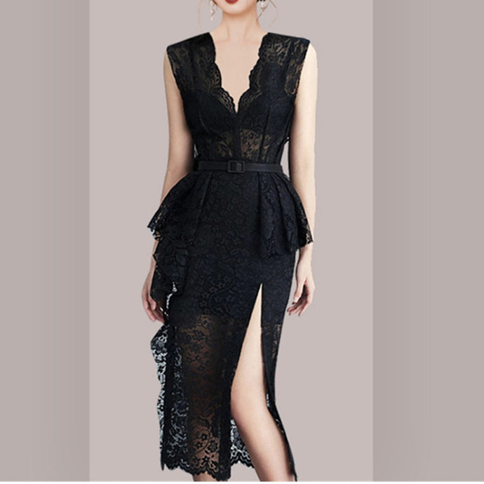 Elegant V-neck High Waist Lace Dress