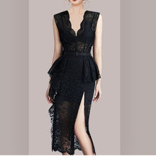 Load image into Gallery viewer, Elegant V-neck High Waist Lace Dress