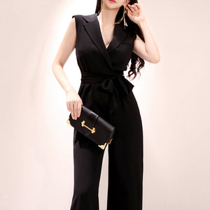 Elegant Office Lady Solid Sleeveless Rompers Jumpsuits