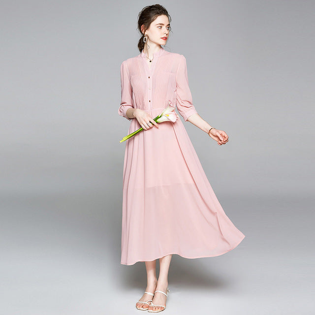 New Summer Chiffon Dress Slim Midi Dress
