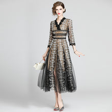 Load image into Gallery viewer, V Neck High Waist Patchwork Mesh Lace Embroidery Dress