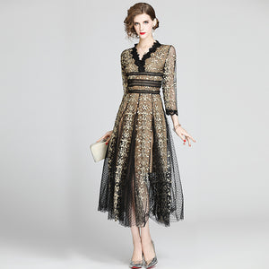 V Neck High Waist Patchwork Mesh Lace Embroidery Dress