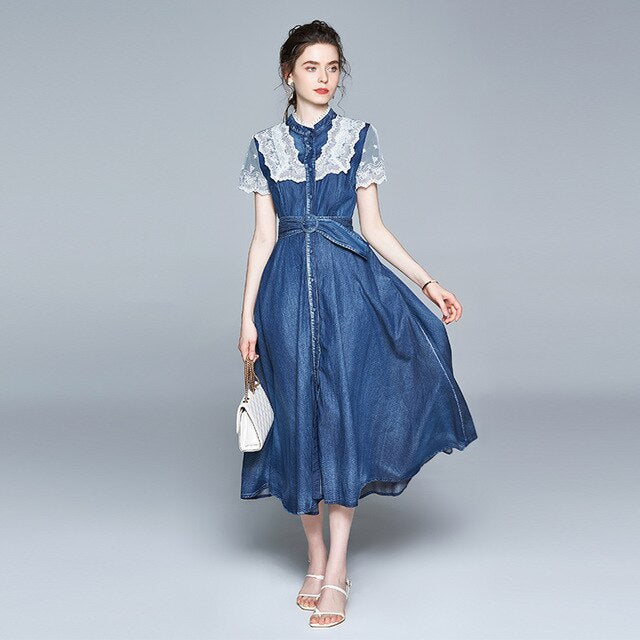 Long Lace Denim Dress
