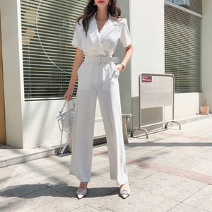 Notched Collar Office Blazer Jumpsuits With belt