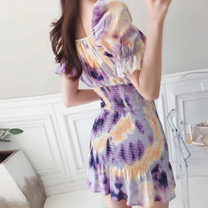 Elegant Slash neck Office Print Dress