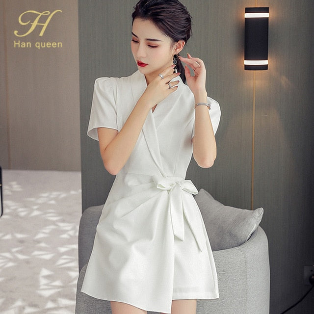 Simple Notched Elegant Occupation Dress