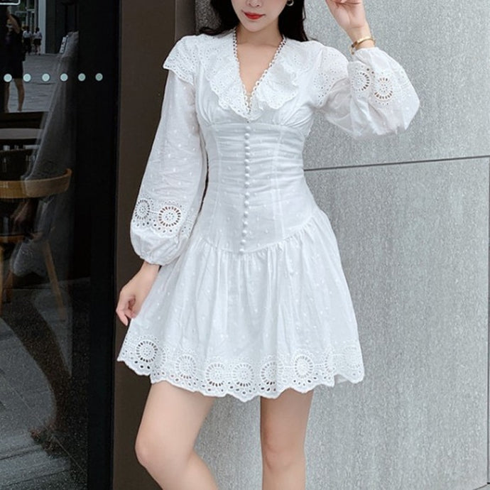V neck Hollow Out Embroidery  Long sleeve Dress