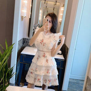 Vintage Floral Print Lace Patchwork Ruffles Mini Dress