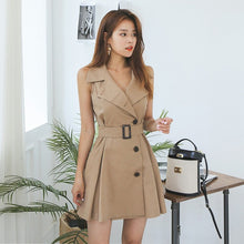 Load image into Gallery viewer, High Waist Single-breasted sleeveless Casual Dress