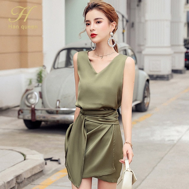 Sleeveless 2 Pieces Office Lady Sets