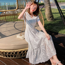 Load image into Gallery viewer, Summer Cotton Elegant Pleated Long White Dress