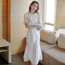 Load image into Gallery viewer, Elegant White Lace Dress