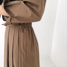 Load image into Gallery viewer, Long Sleeve Korea Chic Pleated Dress