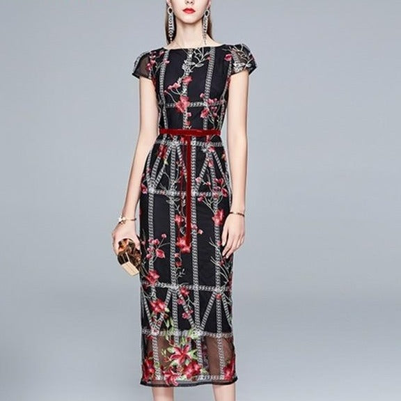 Luxury Embroidery Pencil Dress