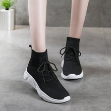 Load image into Gallery viewer, Flat Bottom High Top Flying Woven Ankle Boots