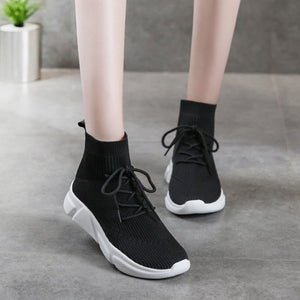 Flat Bottom High Top Flying Woven Ankle Boots