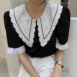 Free Size Embroidery Flower Blouse