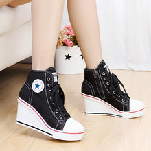 Load image into Gallery viewer, WB33 8cm Wedges High Top Pumps Canvas Shoes